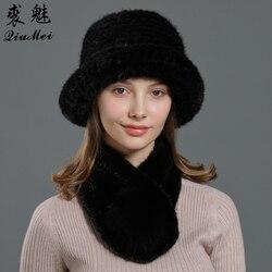 Set de sombreros y bufanda de piel Real para mujer, 2 piezas de punto cálido, de lujo, silenciador, invierno, cubo, sombreros, pañuelo de piel natural, visón
