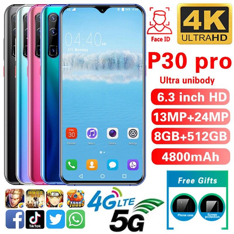 Smartphone P30pro Phones MTK6592 6.3inch HD Mobile Phone 1440*3040 Unlocked Smartphone 8GB+512GB Camera 13MP+24MP