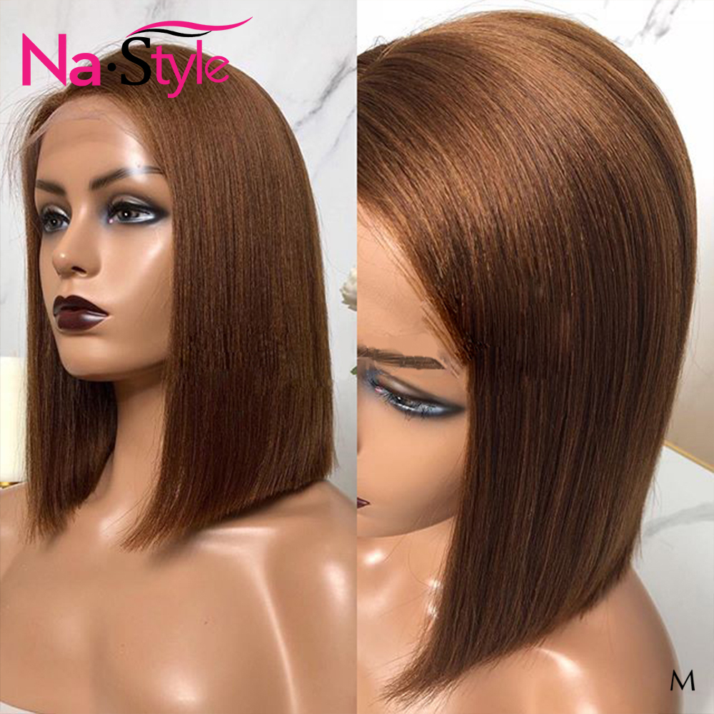 Brown Lace Front Wig For Women 13x6 Pixie Cut Wig Brazilian Natural Shorrt Human Hair Wigs Pre Plucked With Baby Hair 130% Remy