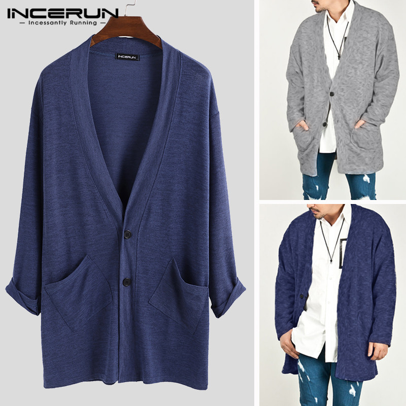 INCERUN Men Cardigan Coat Sweater Button-Up Long-Sleeve Fashion Clothing Pockets Casual