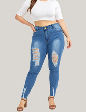 New Fashion Ripped Jeans For Women Casual Women Plug Size Ripped Trousers Stretch Denim Pencil Pants Jeans Women