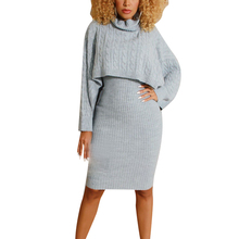 Two-Piece Sweater+ Bodycon Dress Suit Solid Women High Collar Sweater With Mid-calf Dress Set For Autumn and Winter cold shoulder bodycon mini sweater dress