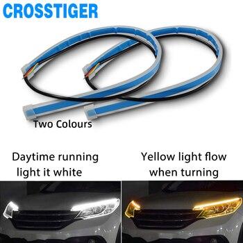 цена на 2pcs Led DRL Daytime Running Lights Flasher Turn Signal DRL Led Strip Car Light Accessories Brake Side Lights Headlight For Auto