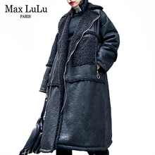 Jackets Biker-Coats Motorcycle-Clothing Faux-Leather Max-Lulu Designer Long European