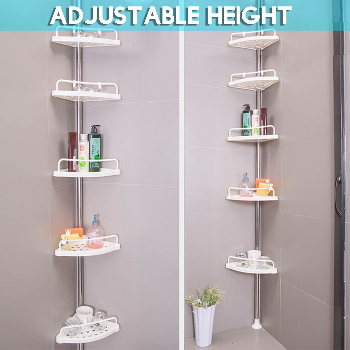 5 Tier Telescopic Bathroom Corner Shelf Rack+Stainless Steel Bar Shower Caddy Storage Bathroom Shelf Space Saving Bath Accessory