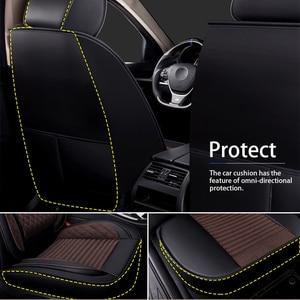 Image 2 - מושב מכונית מכסה סט אוניברסלי מכונית פשתן מושב כיסוי מגן עם קדמי מושב משענת כרית עור מפוצל מושב בחזרה אחסון שקיות
