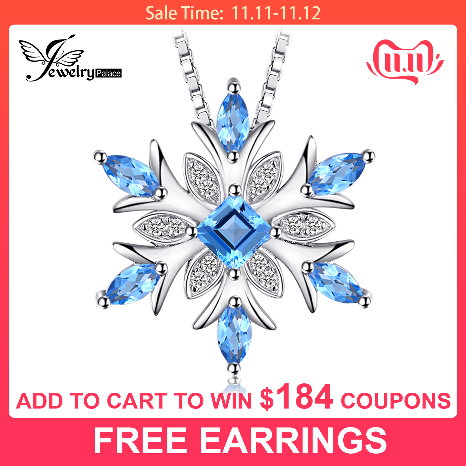 JPalace Snowflake Natural Topaz Pendant Necklace 925 Sterling Silver Gemstones Choker Statement Necklace Women Without Chain