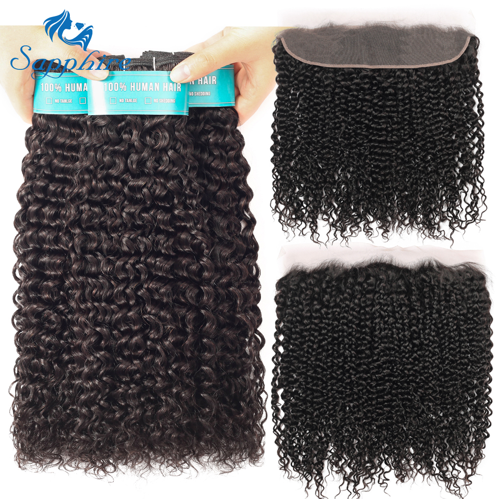 Sapphire Hair Brazilian Kinky Curly Bundles With Frontal Closure Curly Remy 100% Human Hair Bundles With 13*4 Closure