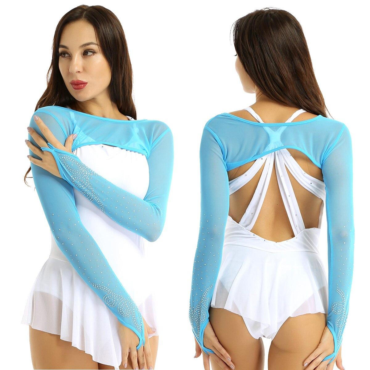 ChicTry Women Sheer Mesh Long Sleeves Rhinestones Half Shrug Wrap Crop Tops For Performance Figure Skating Dress Dance Cover-Ups
