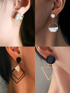 New Fashion Round Dangle Drop Korean Earrings For Women Geometric Round Heart Gold Earring