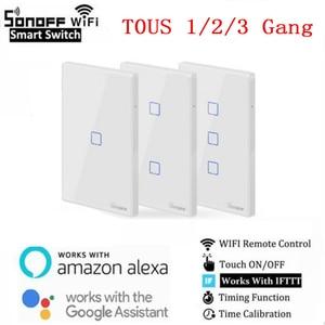 Смарт-переключатели SONOFF T0 TX EU/US WiFi с 1/2/3 бандой беспроводной Wifi переключатель для Alexa Google Home умный дом Умный дом