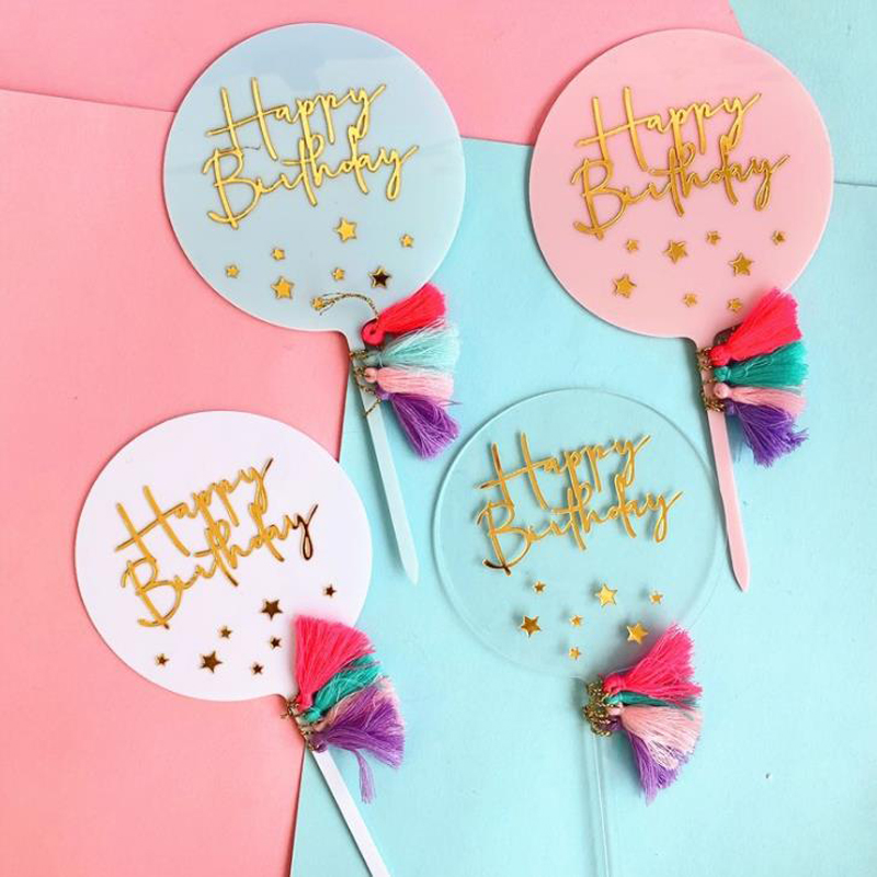 1 Pcs Rainbow Tassel Acrylic Happy Birthday Star Cupcake Toppers Circle Birthday Party Children's Day Cake Decorations