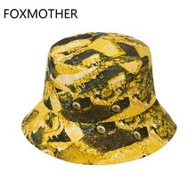 FOXMOTHER New Fashion Casquette Sun Beach Panama Bob Yellow Tie Dye Bucket Hats Fishing Cap For Women Mens Gorras Summer