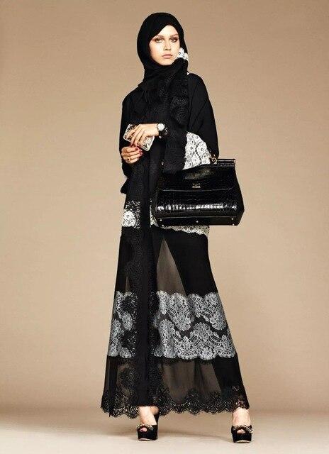 Fashion Silky Opening Muslim Abaya Arab Female Muslim Robe Syari Full Length Lace Embroidery Muslim Dresses Ramadan Abaya F1055