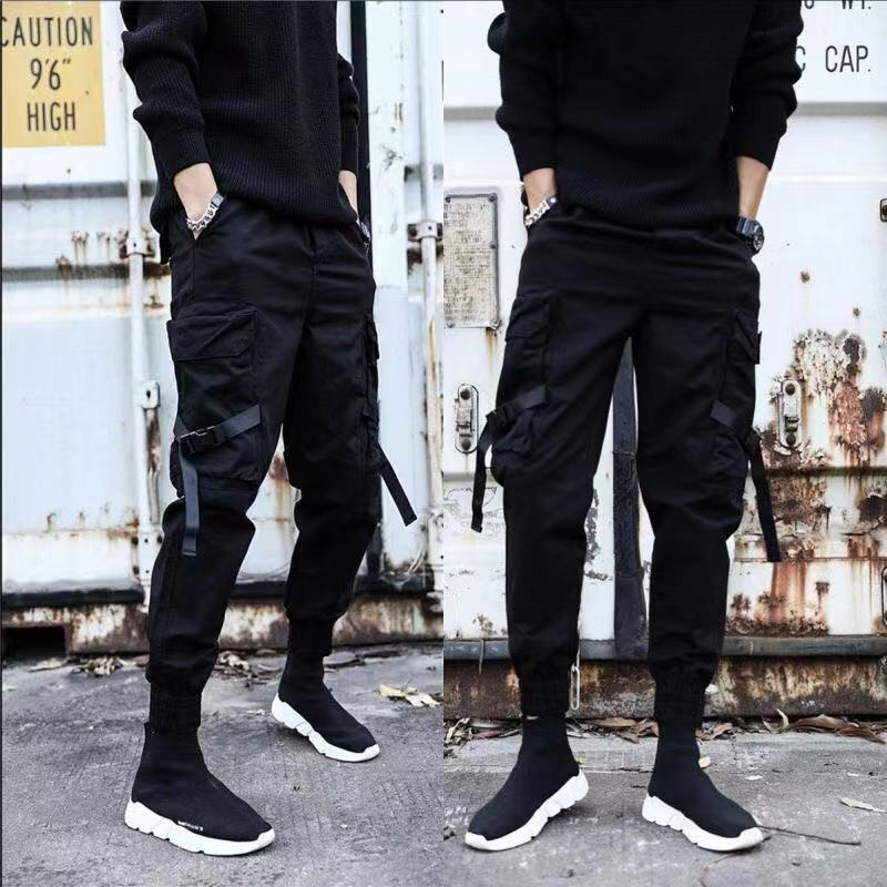 Men Cargo Pants Ribbons Color Block Black Pocket Man 2019 Harem Joggers Harajuku Male Sweatpants Hip Hop Trousers Plus Size 5XL