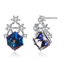 LEKANI Blue Crystals From Swarovski Cube Stud Earrings 925 Sterling Silver Snowflake Studs for Women Christmas Gift Fine Jewelry lekani crystals from swarovski necklace925 ms exquisite prom necklace christmas snowflake square pendant necklace