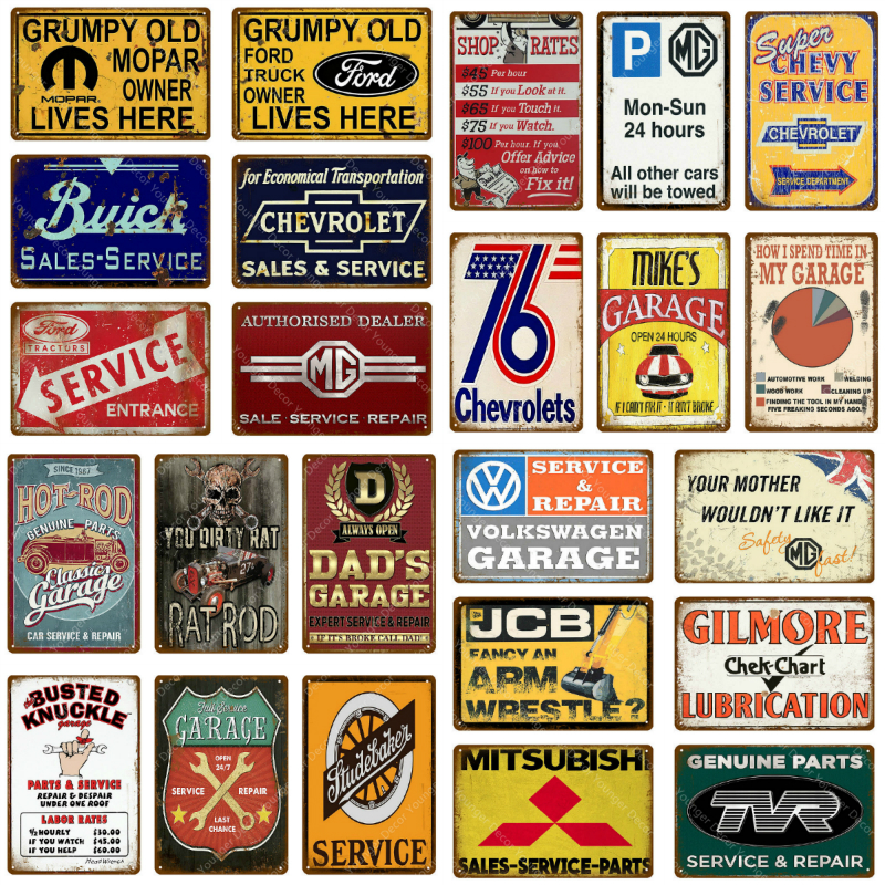 Chevrolet Motor Company Metal Sign Sales Service Parts Vintage Style Gas Chevy