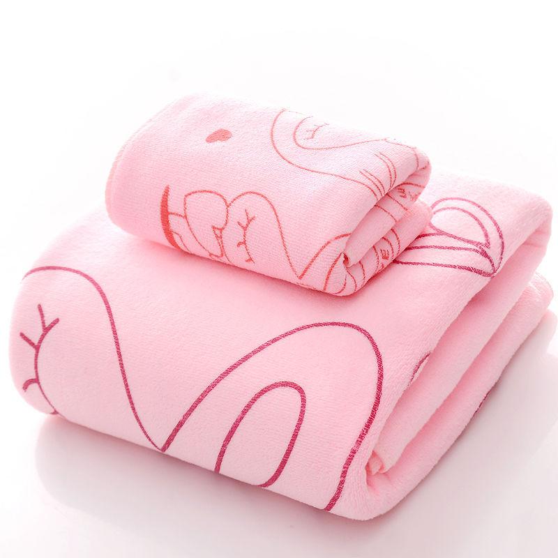 [Bath Towel + Towel] Set Bath Towel Men And Women Adult Cool Cartoon Than Cotton Soft Absorbent Cute Gift