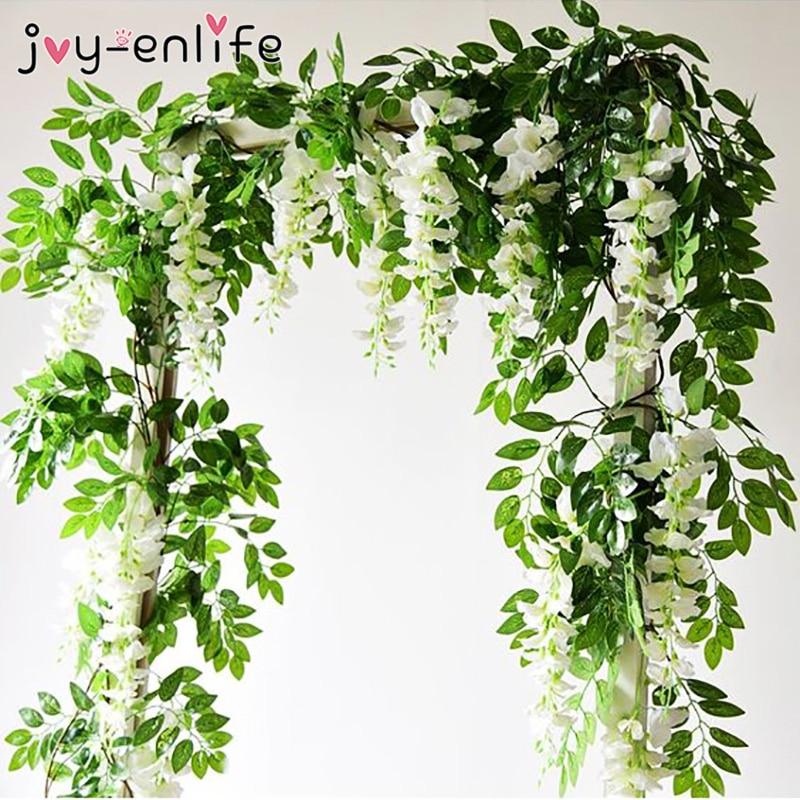 1.90M Wisteria sztuczne kwiaty winorośli Garland dekoracja łuku ślubnego sztuczne rośliny liście Rattan spływu Faux kwiaty bluszcz ściany|Sztuczne i zasuszone kwiaty|   -