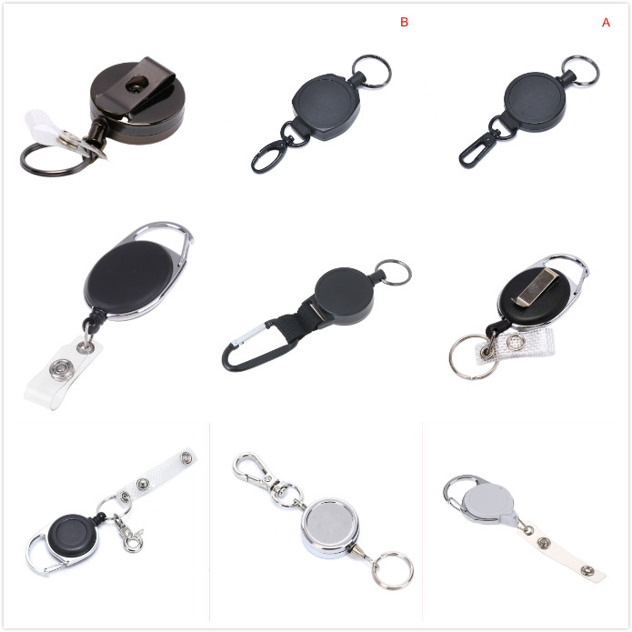 10 x Retractable ID Badge Reel Holder Identity Pass Black Keychain Belt Clip UK