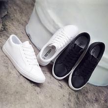 Nowy Tenis Feminino sznurowane białe buty kobieta PU skóra jednokolorowe buty damskie na co dzień kobiety buty Sneakers Zapatos Mujer tanie tanio BZQBZX Szycia Stałe Wiosna jesień Mieszkanie (≤1cm) Lace-up Pasuje prawda na wymiar weź swój normalny rozmiar