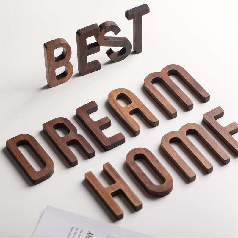 1pc Walnut Wooden Letter English Alphabet DIY Personalised Name Design Art Craft Free Standing Heart Wedding Home Decor