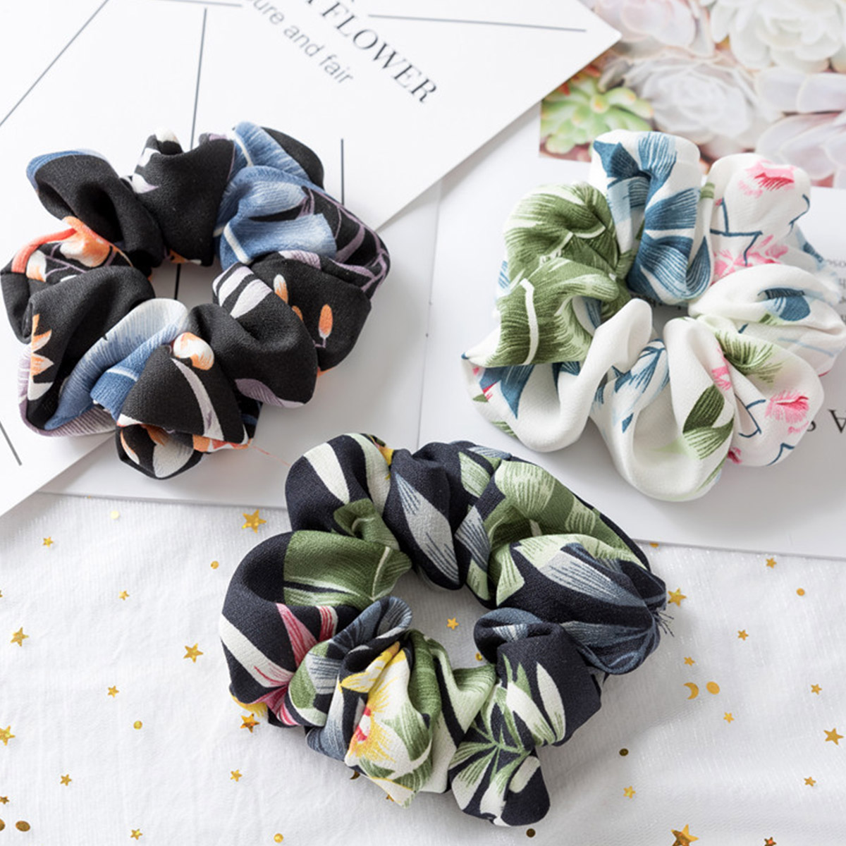 3Pcs/set Hair Accessories Floral Elastic Hair Tie Scrunchies For Girl Women Colth Ponytail Hairs Holder Rope Headwear