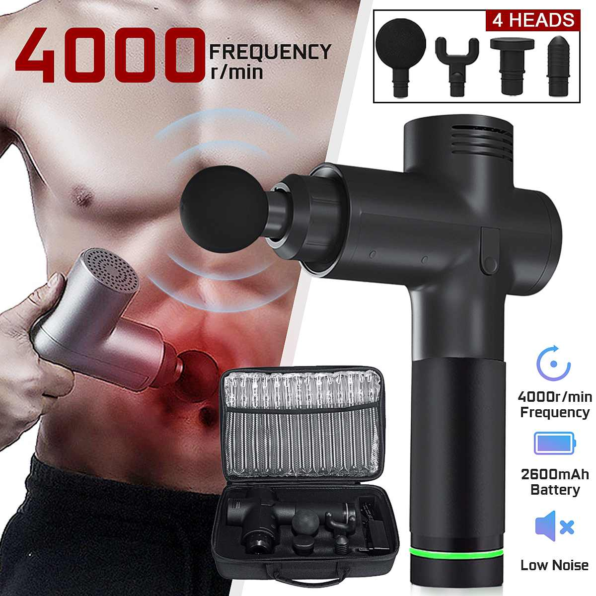 4000r/min Therapy Massage Guns 3 Gears Muscle Massager Pain Sport Massage Machine Relax Body Slimming Relief 4 Heads With Bag| |   - AliExpress