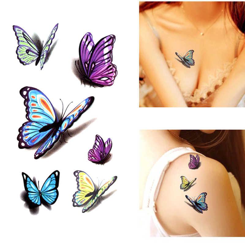 Waterproof Temporary Tattoo Sticker 3d Butterfly Tattoo Color Flash Trendy Tattoo Small Neck Hand Arm Shoulder Fake Tattoo Temporary Tattoos Aliexpress