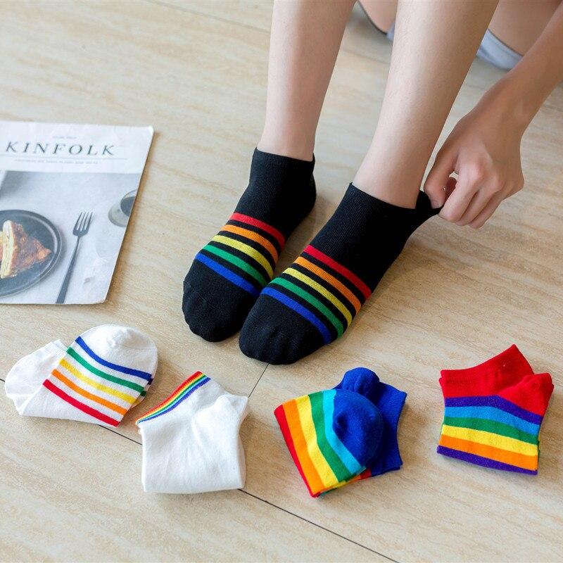 Socks Women Spring And Summer The New Ms Invisible Socks Cotton Socks Rainbow Striped Short Socks Asakuchi Low Help Women Socks
