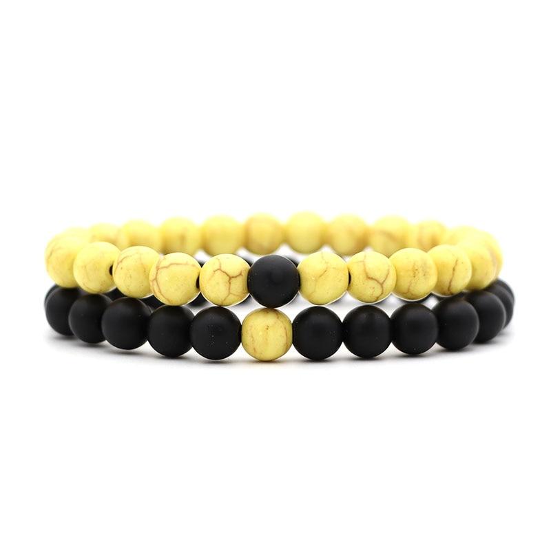 2 шт./компл. Для мужчин браслет классический Натуральный камень пары расстояние бело-черные Инь бисером Браслеты для Для женщин Best Friend»