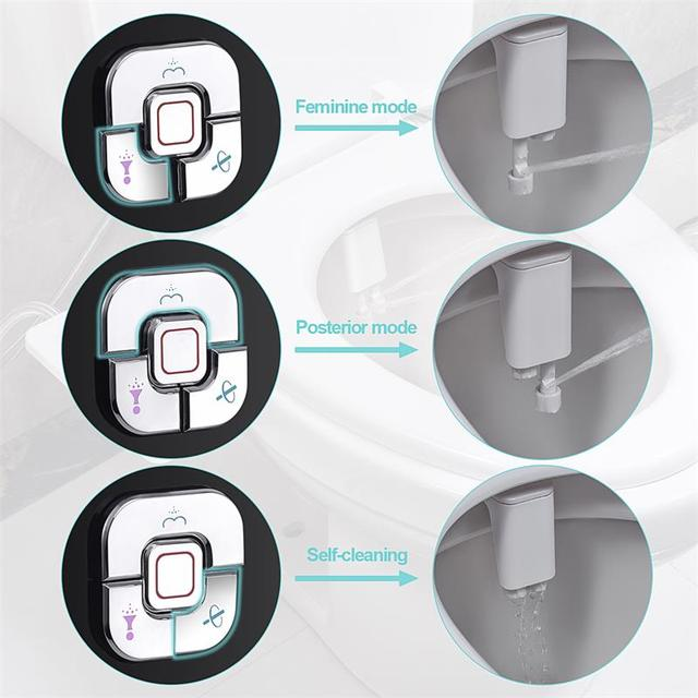 Bidet Toilet Seat Attachment Ultra-thin Non-electric Self-cleaning Dual Nozzles Frontal & Rear Wash Cold Water Personal Hygiene 4