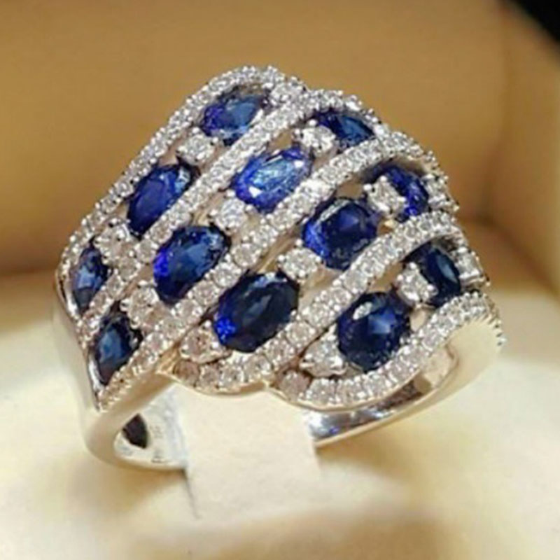 Multi-layer Wedding Crystal Dark Blue Stone Rings Luxury Jewelry Winding Rose Red Zircon Rhinestone Engagement Rings Z3T313(China)