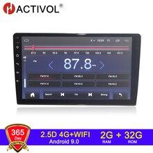 HACTIVOL Radio con gps para coche, Radio con reproductor dvd, 2 GB + 32 GB, Android 9,1, 4 GB, navegador navi, 2 din, universal, intercambiable, 2 pulgadas, 10,1 pulgadas