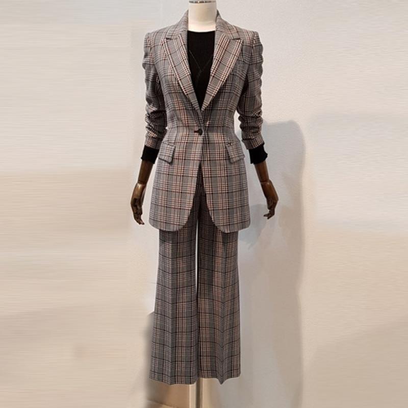 Women's Suits Pants Suit High Quality Slim Long Sleeve Plaid Blazer Trendy Wide-leg Pants Women's Office Suit 2019 Autumn New