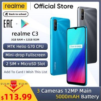 Перейти на Алиэкспресс и купить Realme C3 глобальная версия 3 Гб RAM 32 ГБ ROM Pro мобильный телефон MTK Helio G70 CPU 12MP камера 6,5 дюйммини-капля полноэкранный 5000 мАч