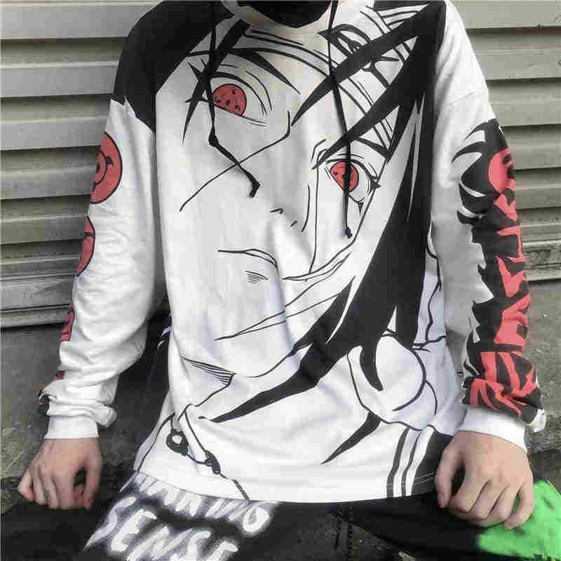 NiceMix Anime Naruto Uchiha Itachi Sharingan print thin hoody Autumn streetwear loose long sleeve pullovers Sweatshirt women me