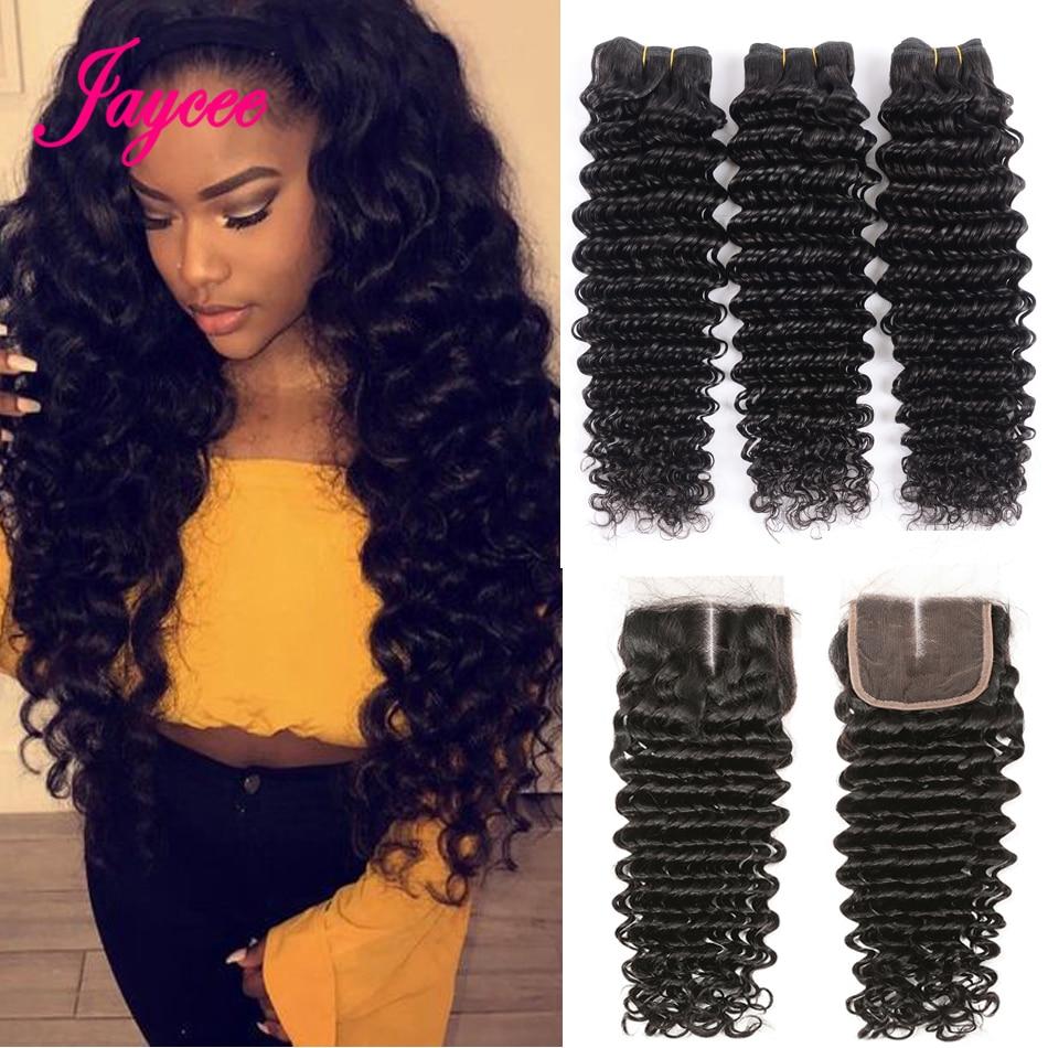 Brazilian Deep Wave Bundles With Closure 4*4 Tissages Bresilien Human Hair Extensions Brazilian Hair Weave Bundles With Closure