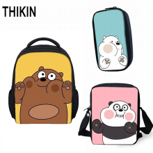 THIKIN cute We Bare Bears Small Children School Bag 3pcs/set Grizzly Panda Ice Bear Best Gift Kindergarten Book Mini Mochila