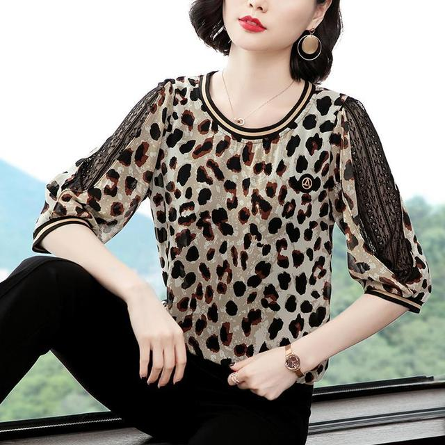 New Women Spring Summer Blouses Shirt Women Casual O-Neck Hollow Out Leopard Blouses Loose Tops High Quality K34 2