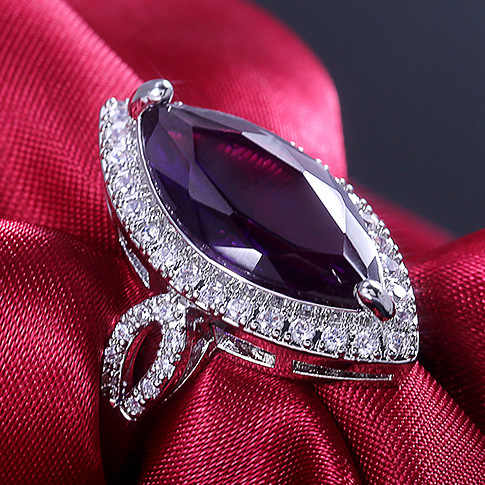 Luxury Vintage Baroque Micro-set Purple Horse Eye Crystal Zircon Ring  For women Gift Party Jewelry