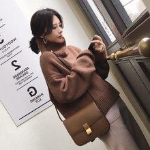 Pull à col roulé épais pour femme et fille, vêtement d'extérieur tricoté, chaud, surdimensionné, en cachemire, ample, collection automne et hiver