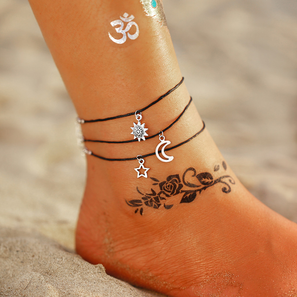 Anklets For Women Foot Accessories Vintage Adjustable Anklets Set Sun Moon Star Anklets Women Girls Summer Beach Ankle Female