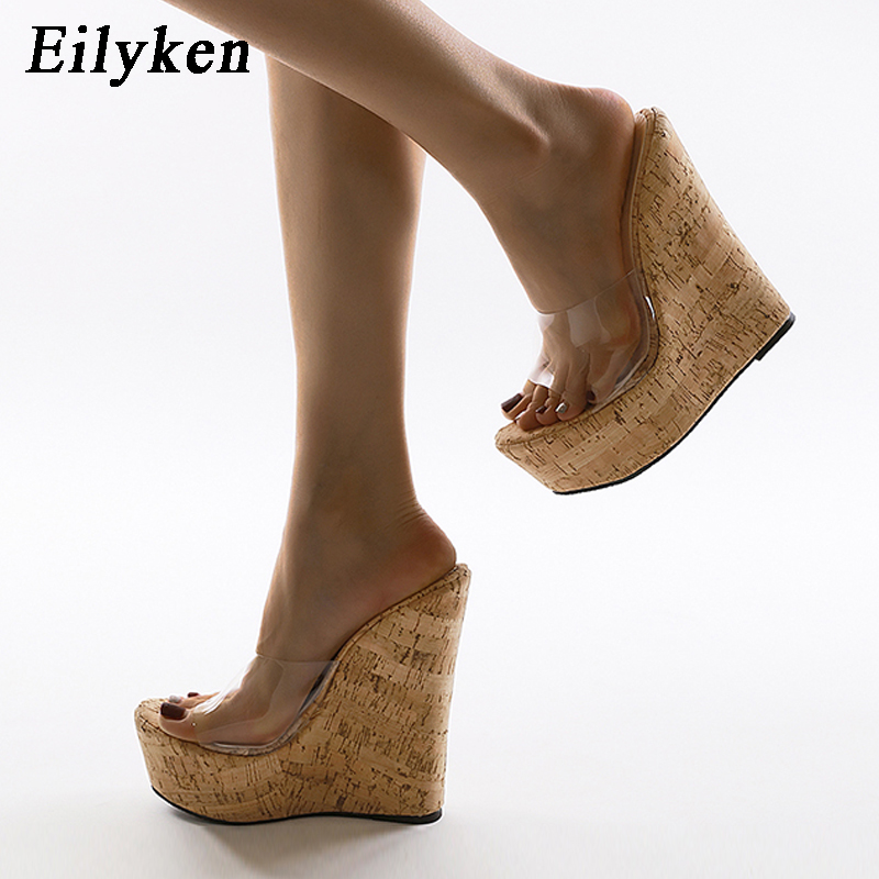 Womens Wedge High Heel Slippers Clear PVC Open Square Toe Sandals Party Shoes sz