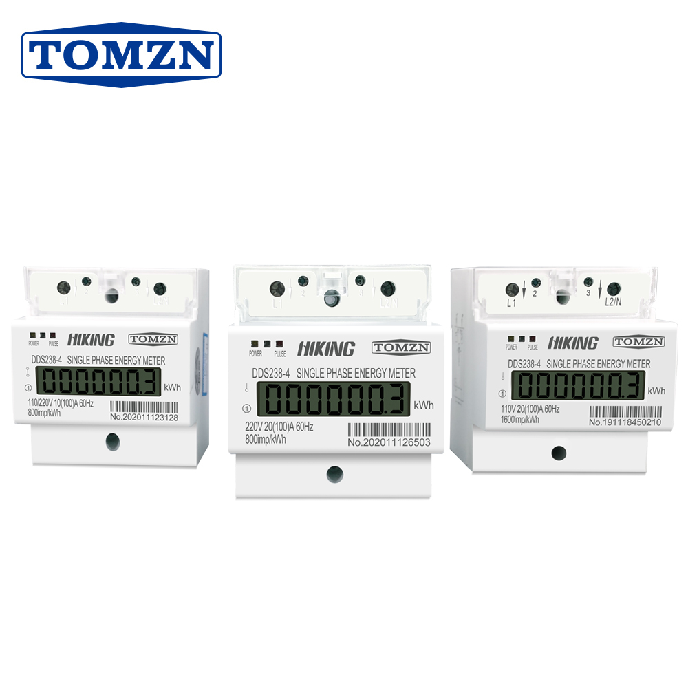 100A 110V 220V 50-60HZ LCD Single Phase 2 Wire 3 Wire Din-rail KWh Watt Hour Energy Meter For America