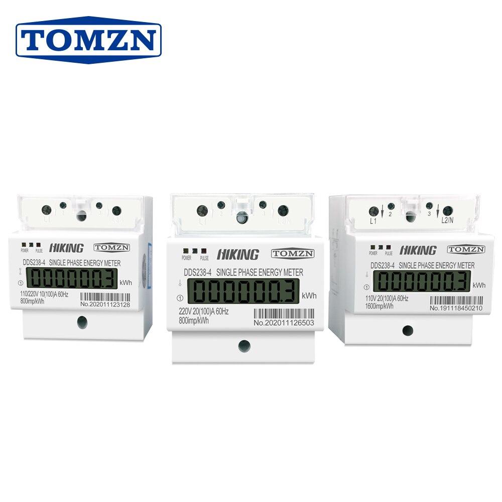 100A 110V 220V 50-60HZ LCD однофазный 2 провод 3 провода din-рейка кВт/ч Ватт час счетчик энергии для Америки