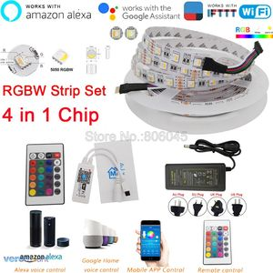 Image 1 - DC12V 5M 5050 WIFI LED רצועת אור עמיד למים 60LED/m 4 ב 1 RGBW RGBWW LED הרצועה מרחוק בקר אספקת חשמל ערכת APP בקרה