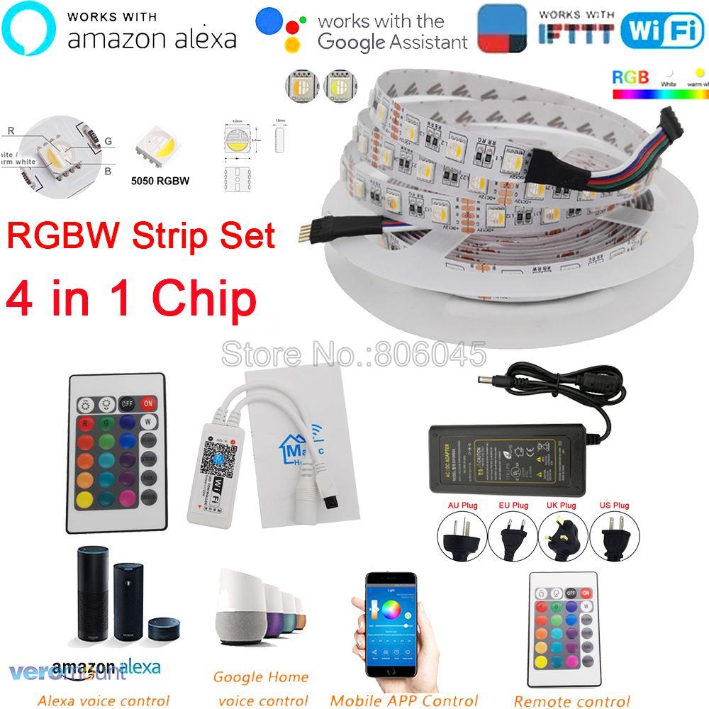 DC12V 5M 5050 WIFI LED Strip Light Waterproof 60LED/m 4 In 1 RGBW RGBWW LED Strip Remote Controller Power Supply Kit APP Control