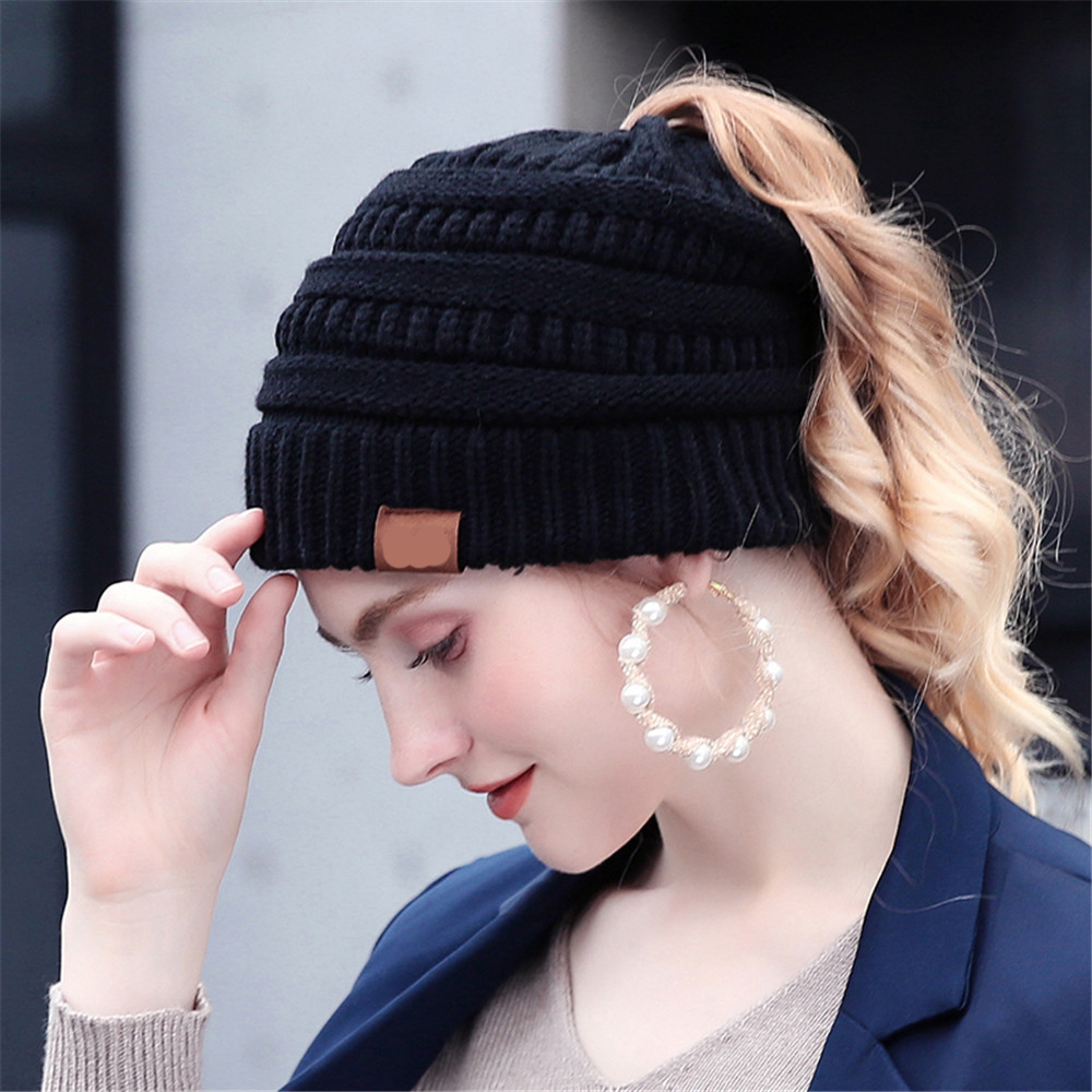 25 Colors Ponytail Beanie Women Stretch Knitted Crochet Beanies Winter Hats For Women Hats Cap Warm Lady Messy