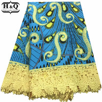 Cotton Guipure Lace African Ankara Embroidered Fabric Batik With Lace African Print Wax Lace Fabric For Fancy Christmas Dress
